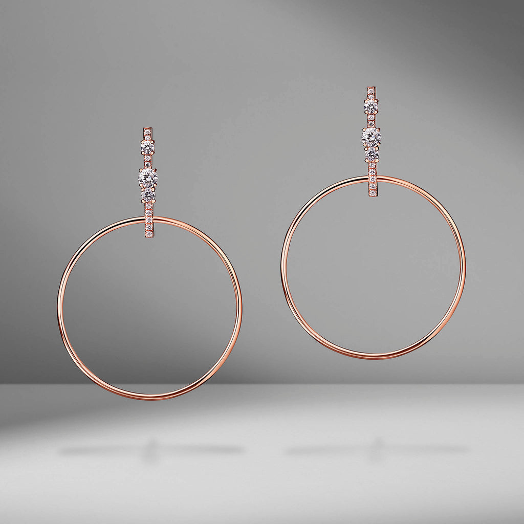 Prive Diamond Hoop Drop Earrings
