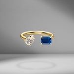 Prive Diamond Pear and Blue Sapphire Open Ring