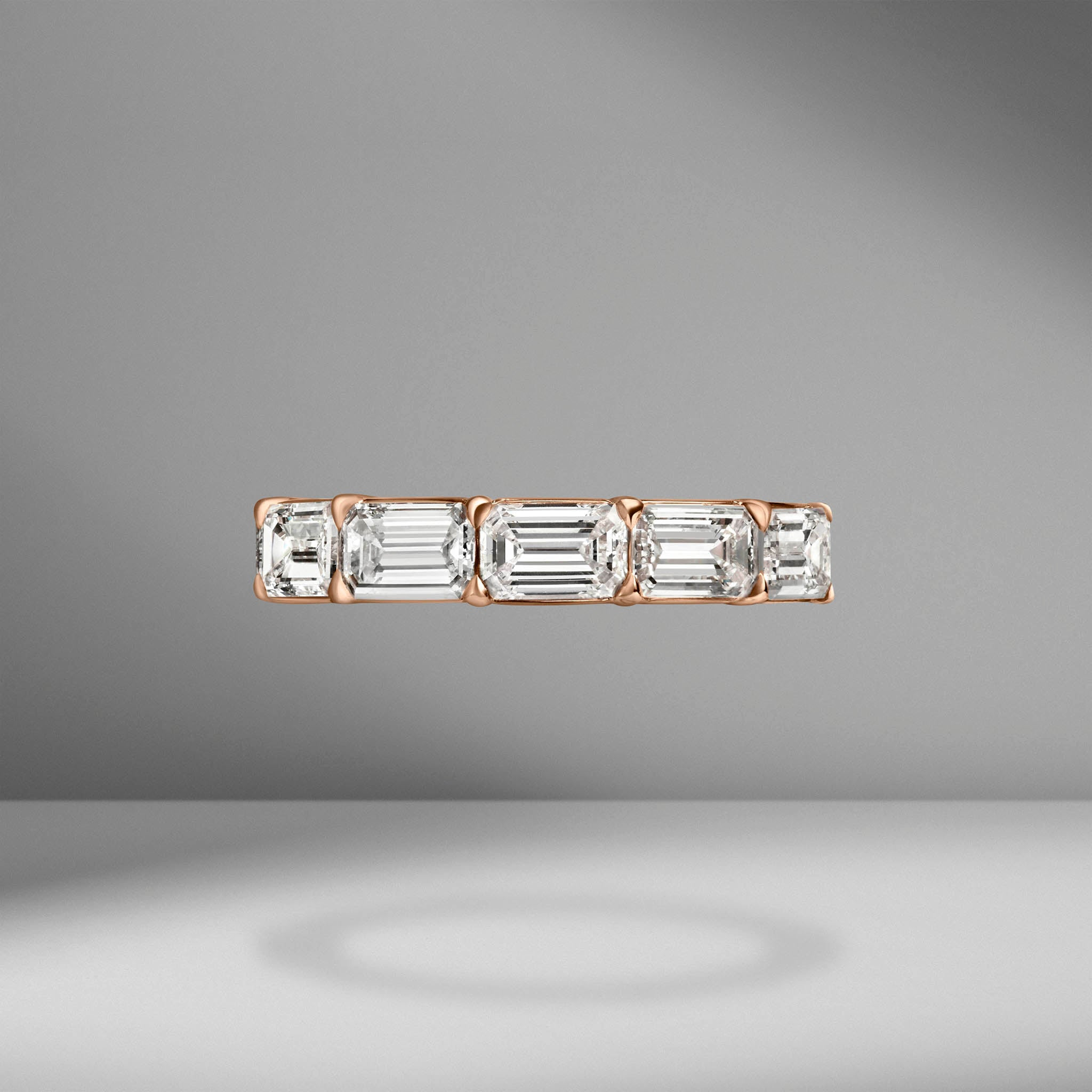 East-West Set Emerald Cut Eternity Band .45