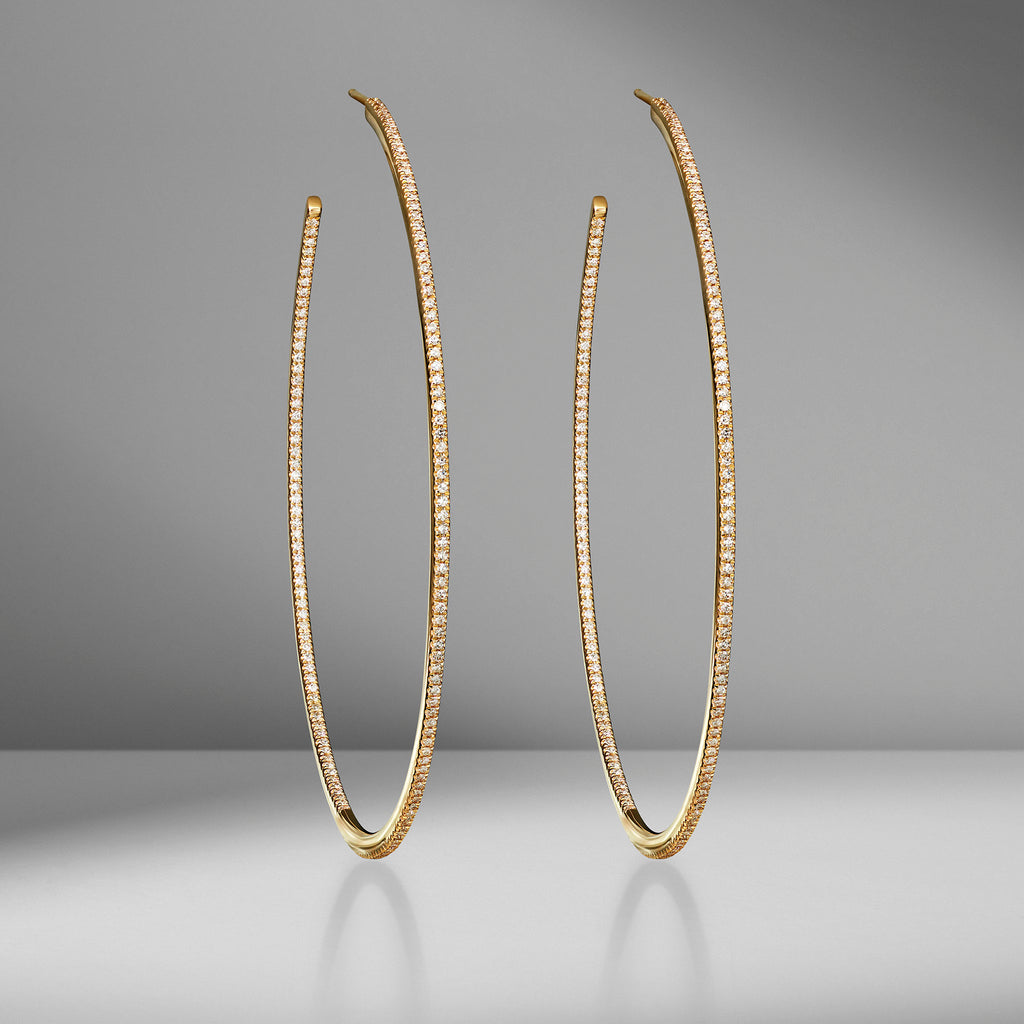 XL Pavé Single Row Diamond Hoops