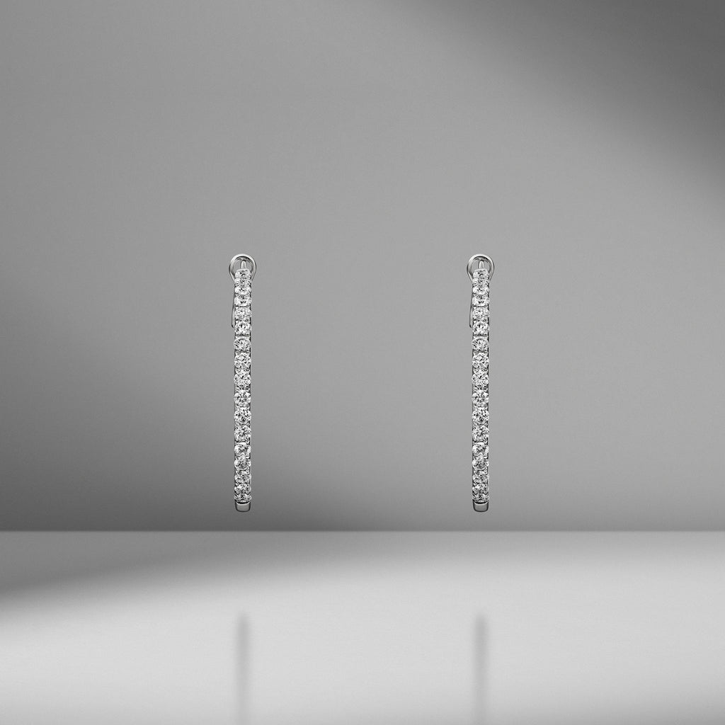 Small In & Out Diamond Hoops
