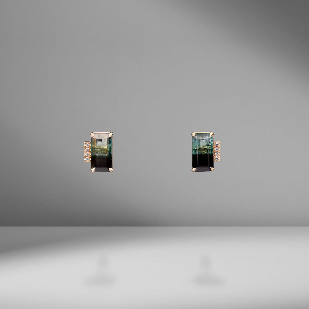 One of a Kind Bi-Color Emerald Cut Tourmaline Studs