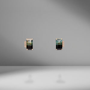 Bi-Color Emerald Cut Tourmaline Studs