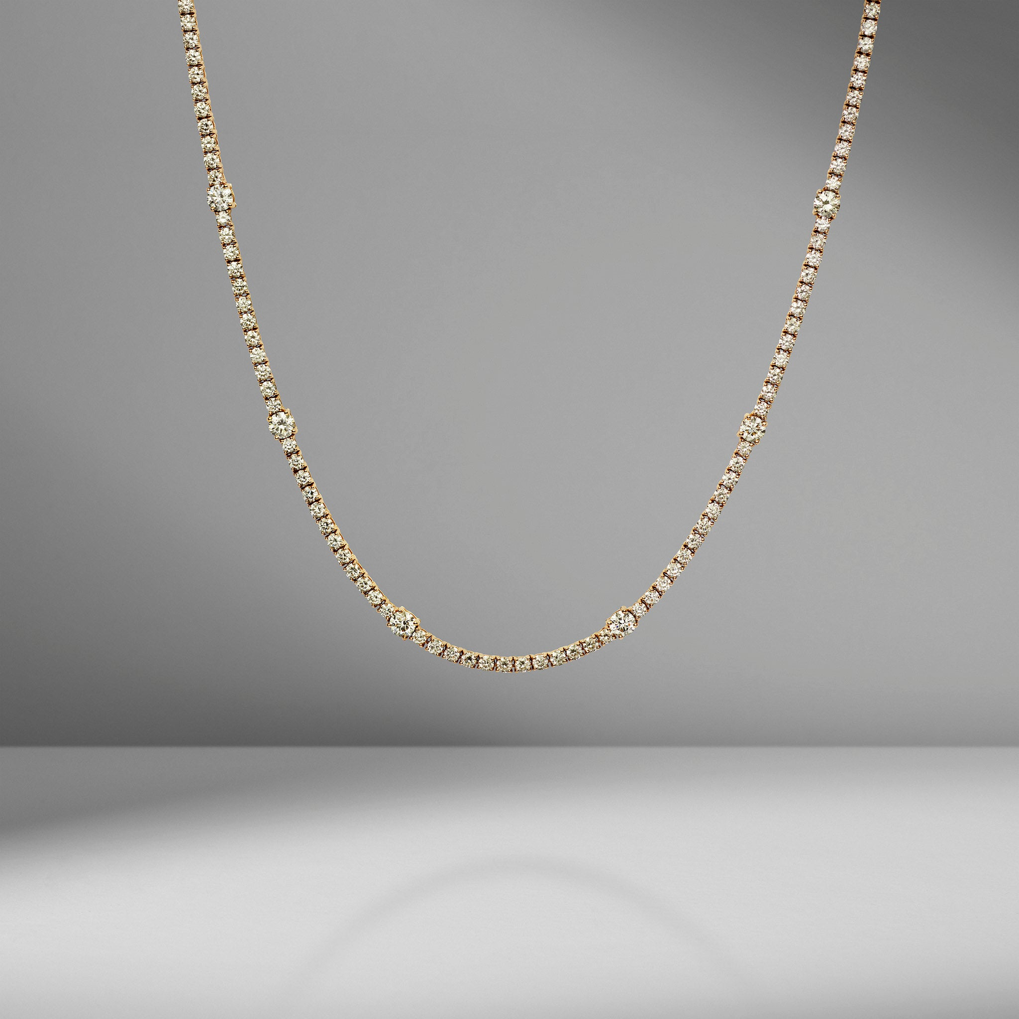 Alternating Diamond Tennis Necklace