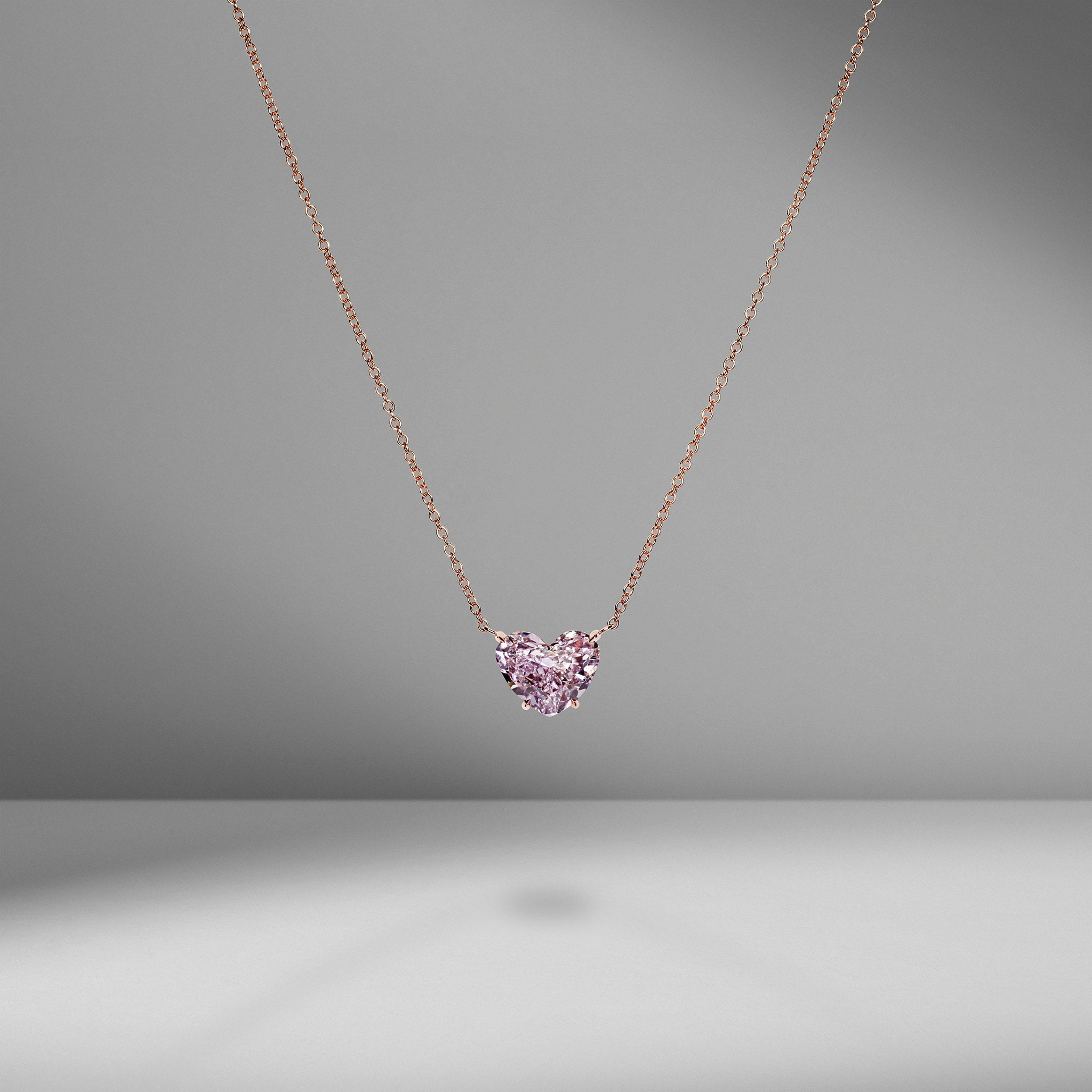 Fancy Purple-Pink Diamond Heart Necklace