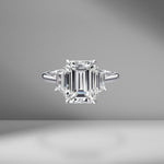 Emerald Cut Engagement Ring with Trapezoids