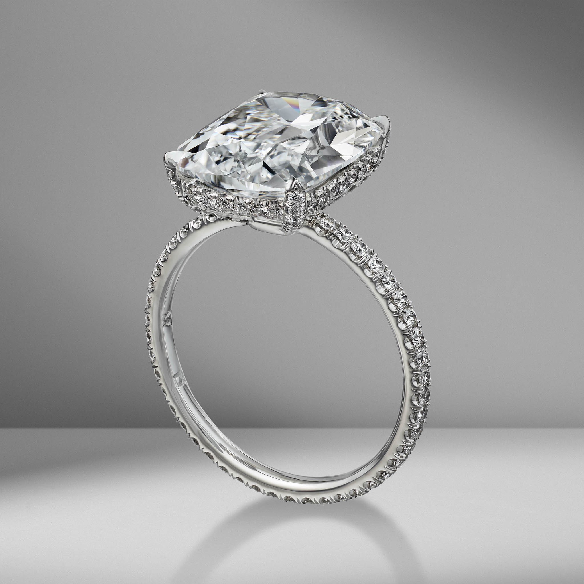 Antique Cushion Cut Engagement Ring with Diamond Pavé