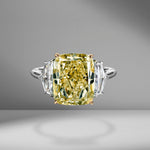 Fancy Yellow Cushion Cut Diamond with Cadillac Side Stones