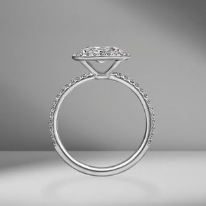 Cushion Cut Engagement Ring with Pavé Halo