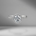 Round Brilliant Cut Engagement Ring with Diamond Pavé Halo