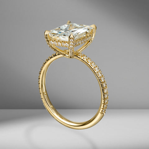 Radiant Cut Engagement Ring with Diamond Pavé
