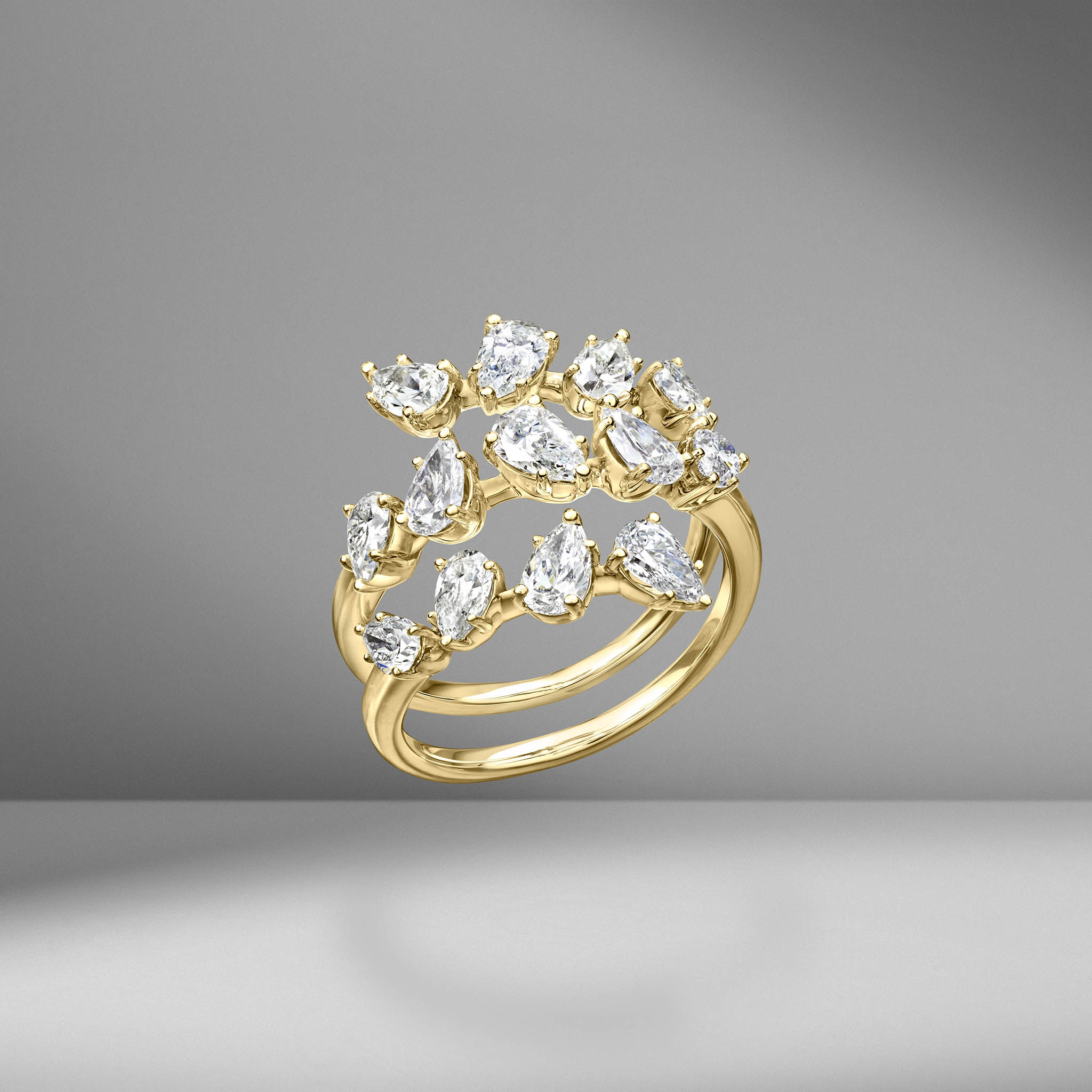 Pear Shape Diamond Spiral Ring