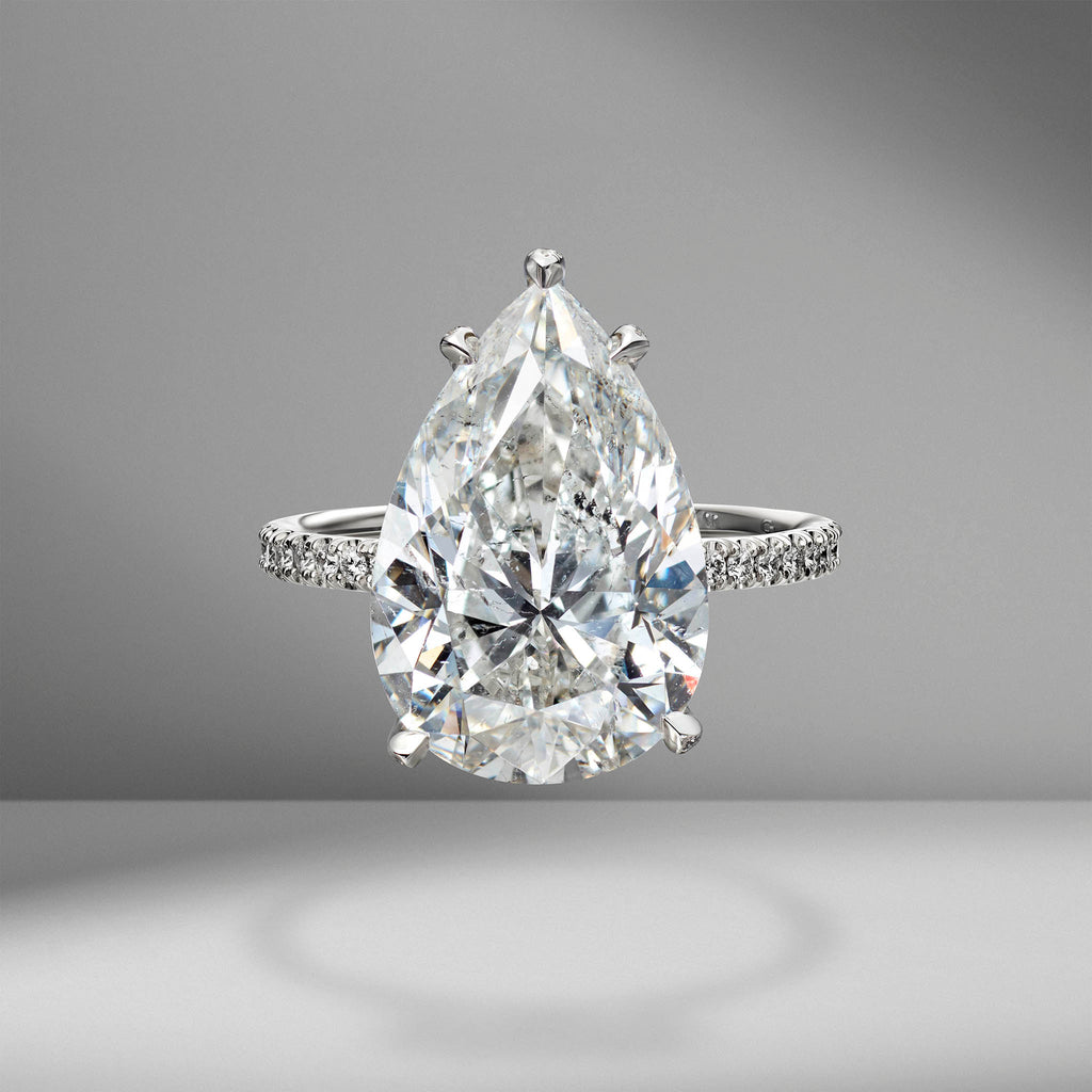 Pear Shape Engagement Ring with Diamond Pavé