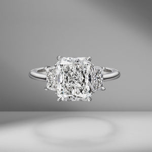 Radiant Cut Engagement Ring with Trapezoids