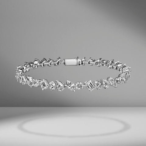 Large White Gold Multi-Shape Diamond Bracelet by Material Good
