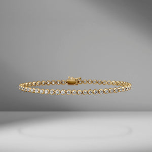 Bezel Set Diamond Tennis Bracelet - 2.15 Carats