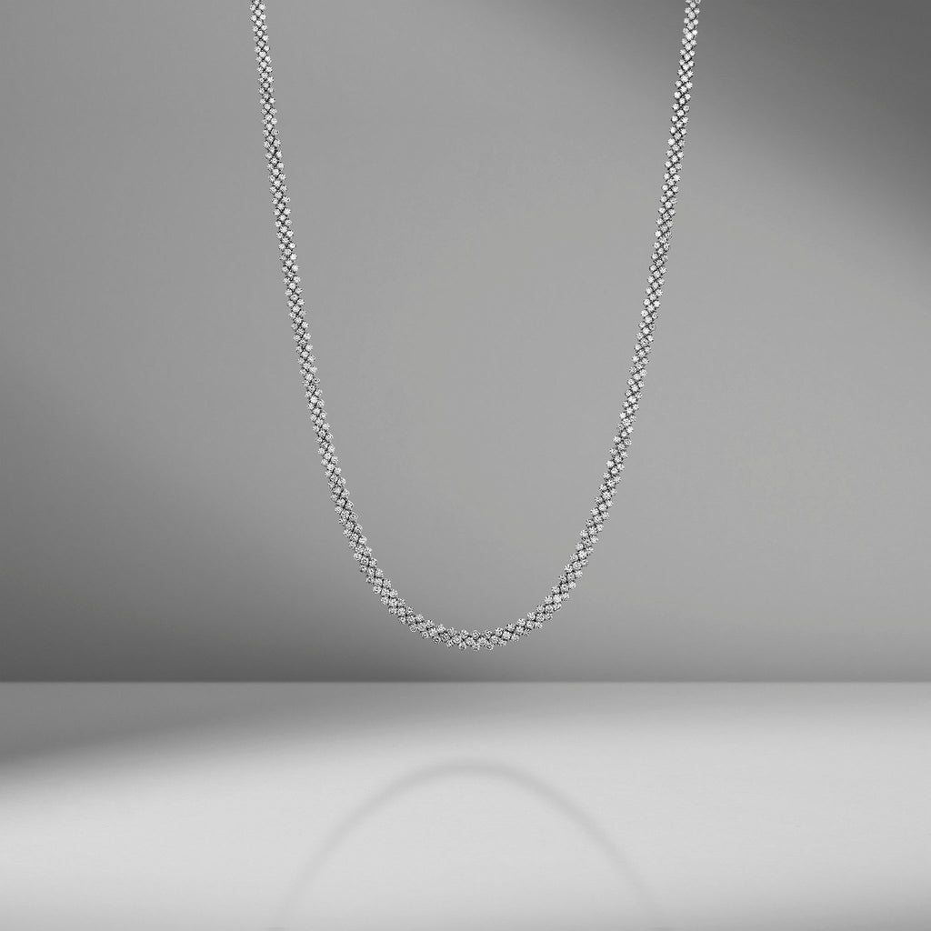 Triple Row Diamond Necklace