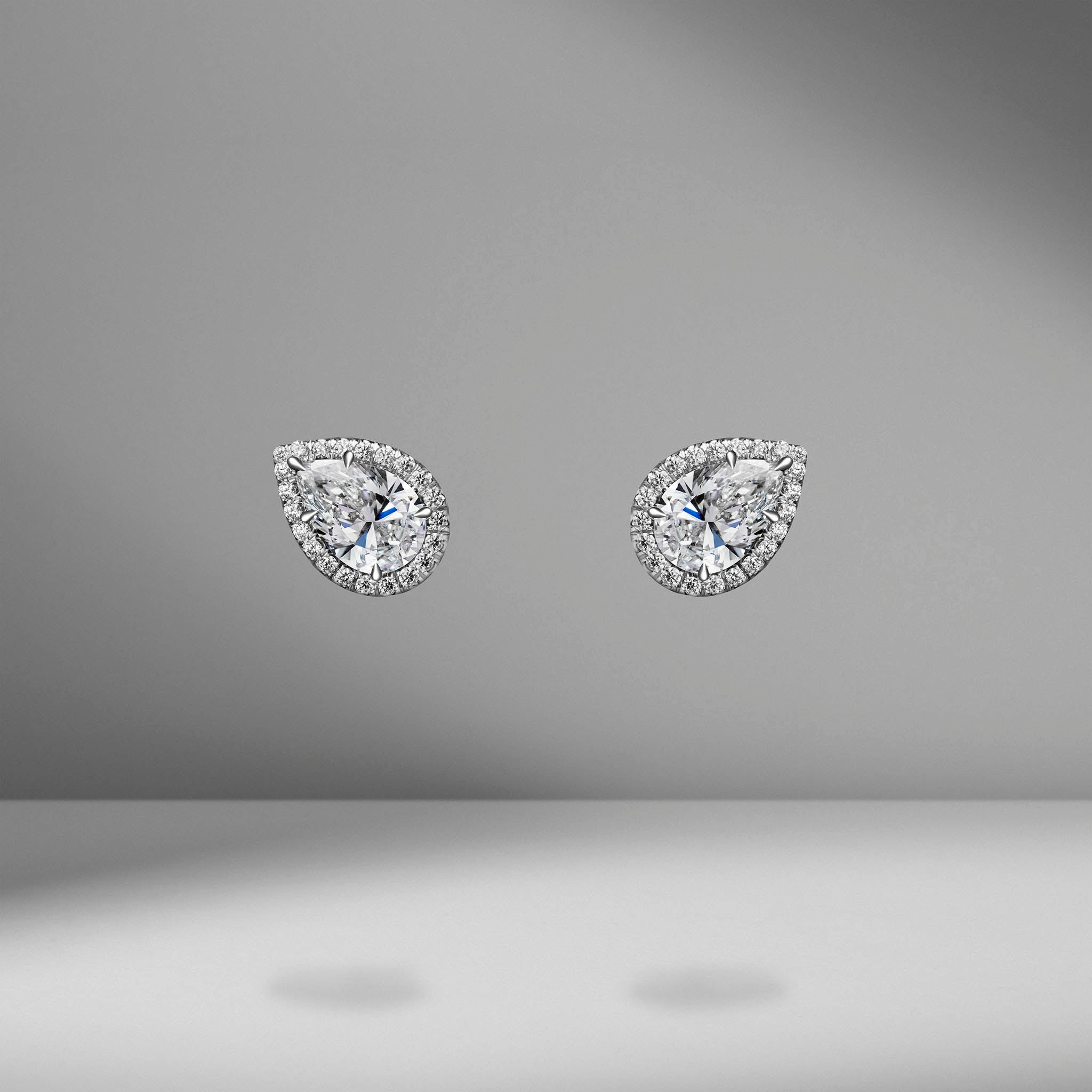 Pear Shape Diamond Studs with Micro Pavé Halo