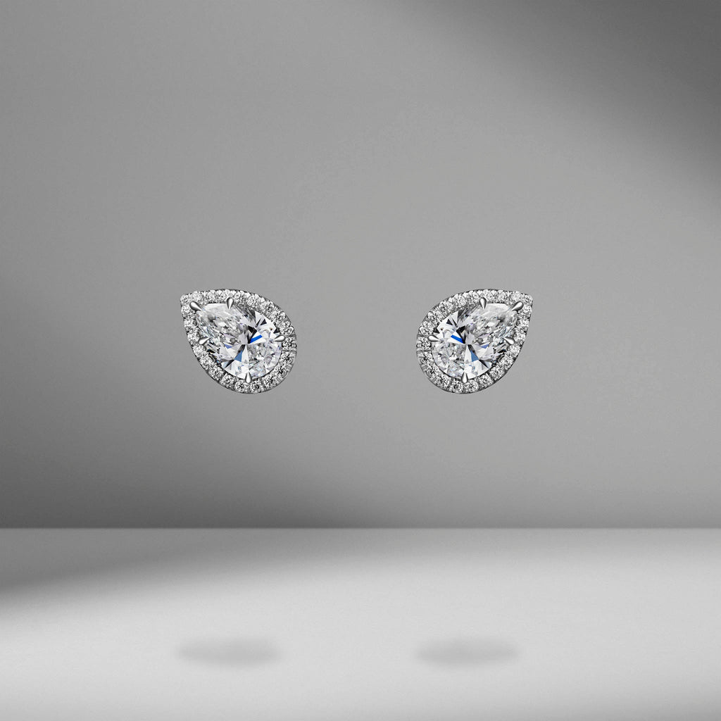 Pear Shape Diamond Studs with mirco pavé Halo