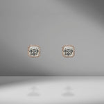 Asscher Cut Diamond Studs with Mirco Pavé Halo