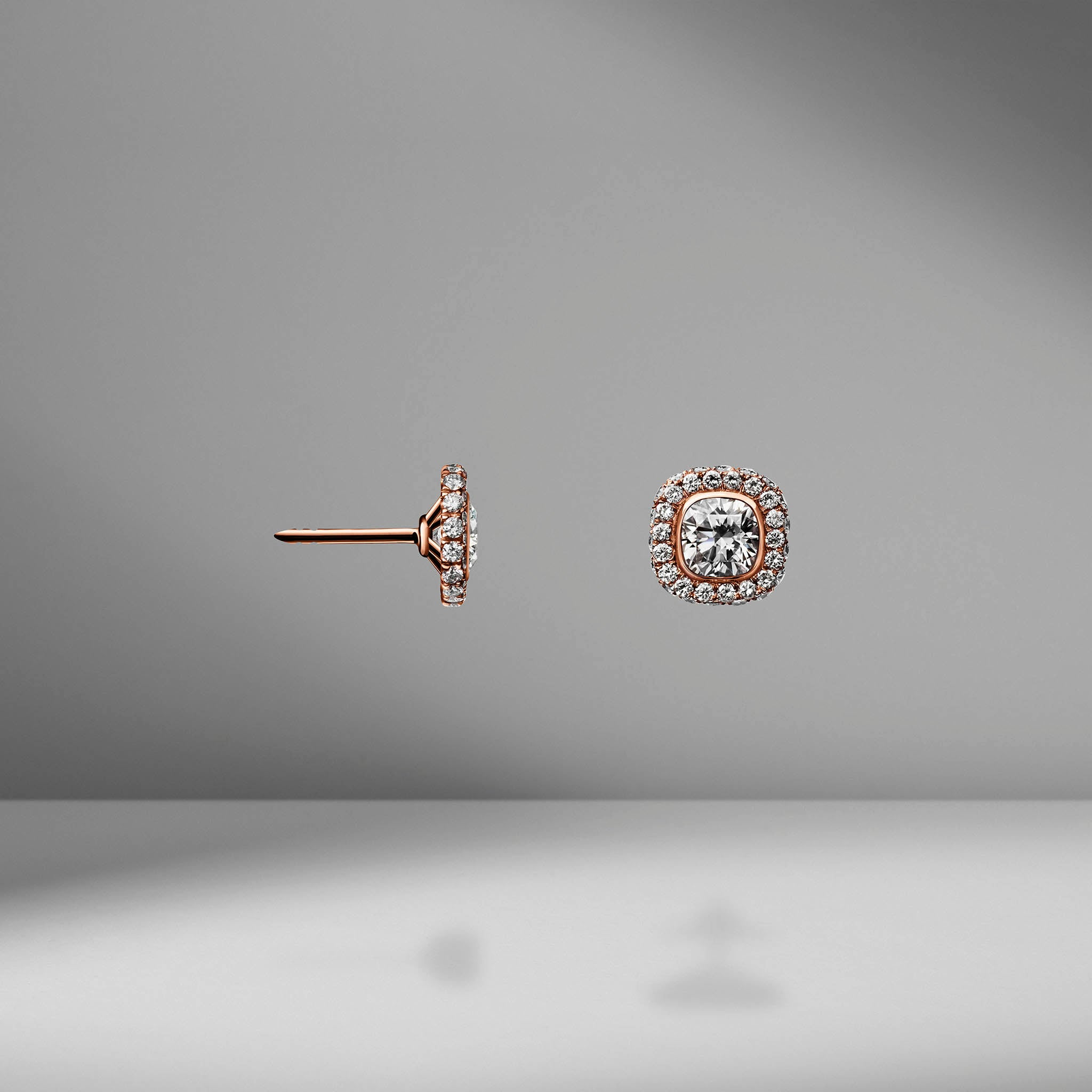 Rose Gold Cushion Cut Diamond Studs