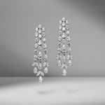 Triple Row Diamond Chandelier Earrings