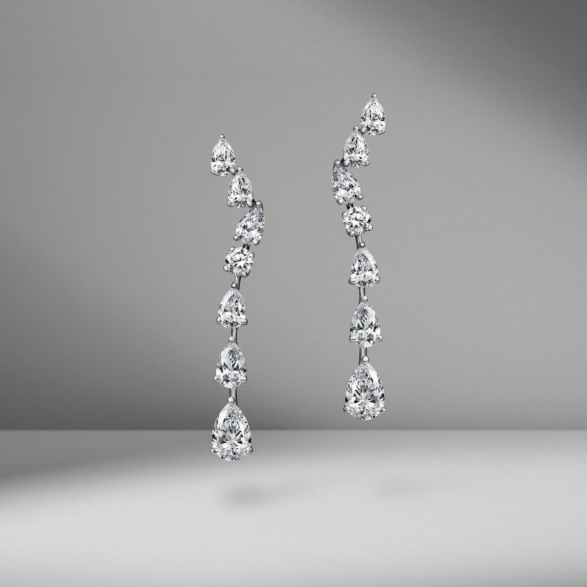 Wave Diamond Drop Earrings