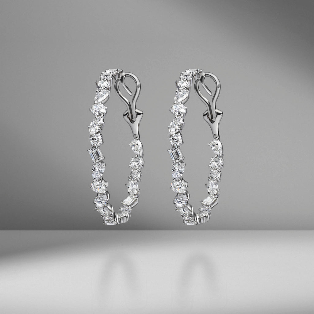 White Gold Multi-Shape Diamond Hoops