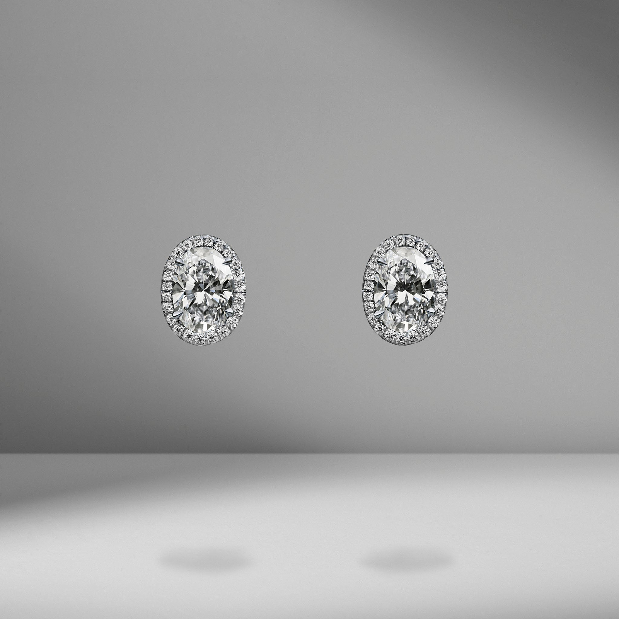 Oval Cut Diamond Studs with Micro Pavé Halo