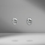 Oval Cut Diamond Studs with mirco pavé halo