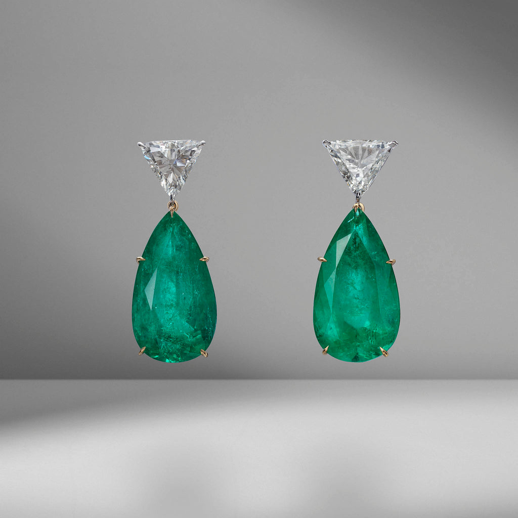 Colombian Emerald Pear Shape Drop Earrings