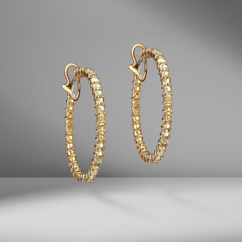 Fancy Yellow Cushion Cut Diamond Hoops