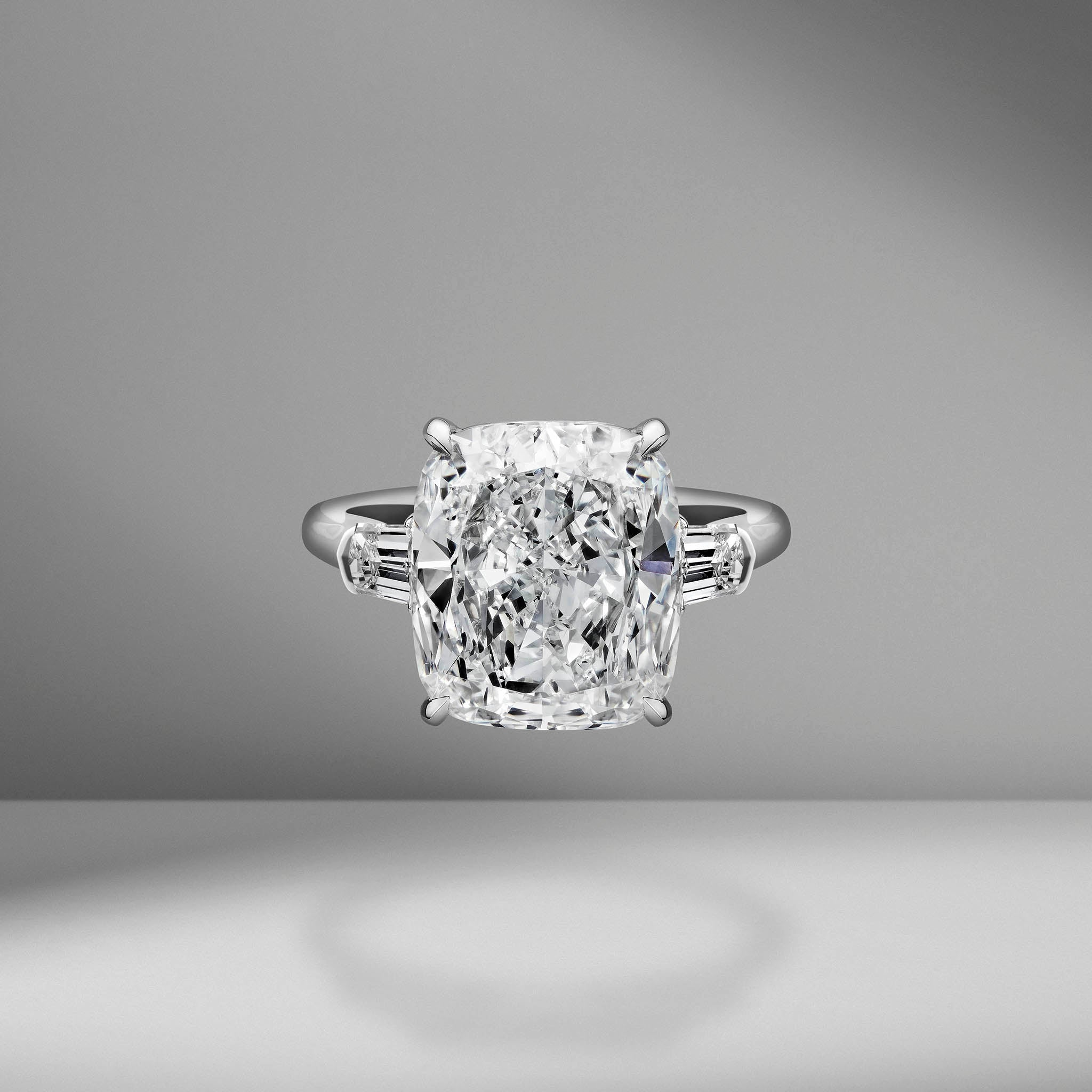 Cushion Cut Engagement Ring with Tapered Bullets