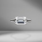 East-West Emerald Cut Engagement Ring with Split Shank