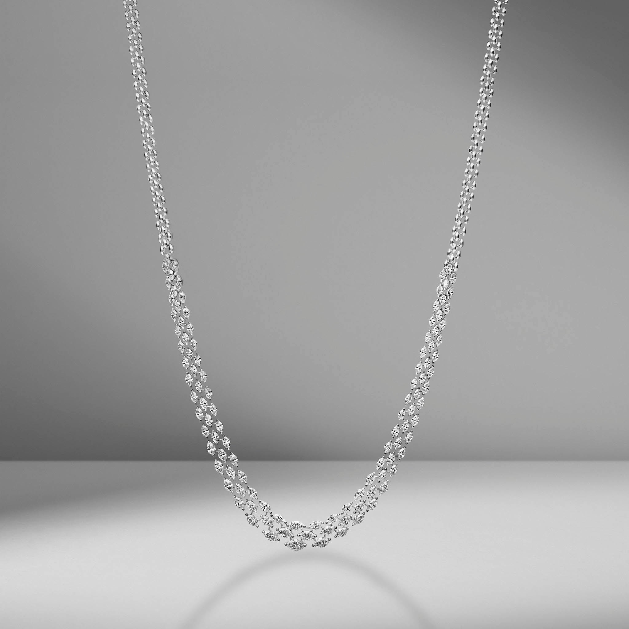 Triple Row Marquise Diamond Necklace