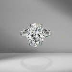 Oval Cut Engagement Ring with Tapered Baguettes