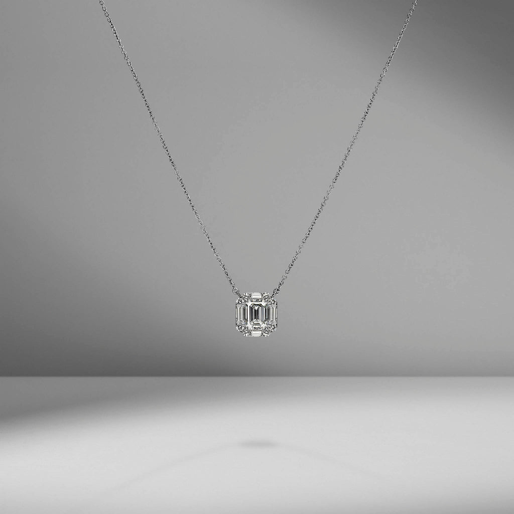 Emerald Cut Diamond Pendant