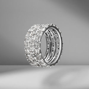 Triple Row Asscher Eternity Band