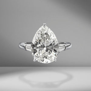 Pear Shape Engagement Ring with Tapered Baguettes