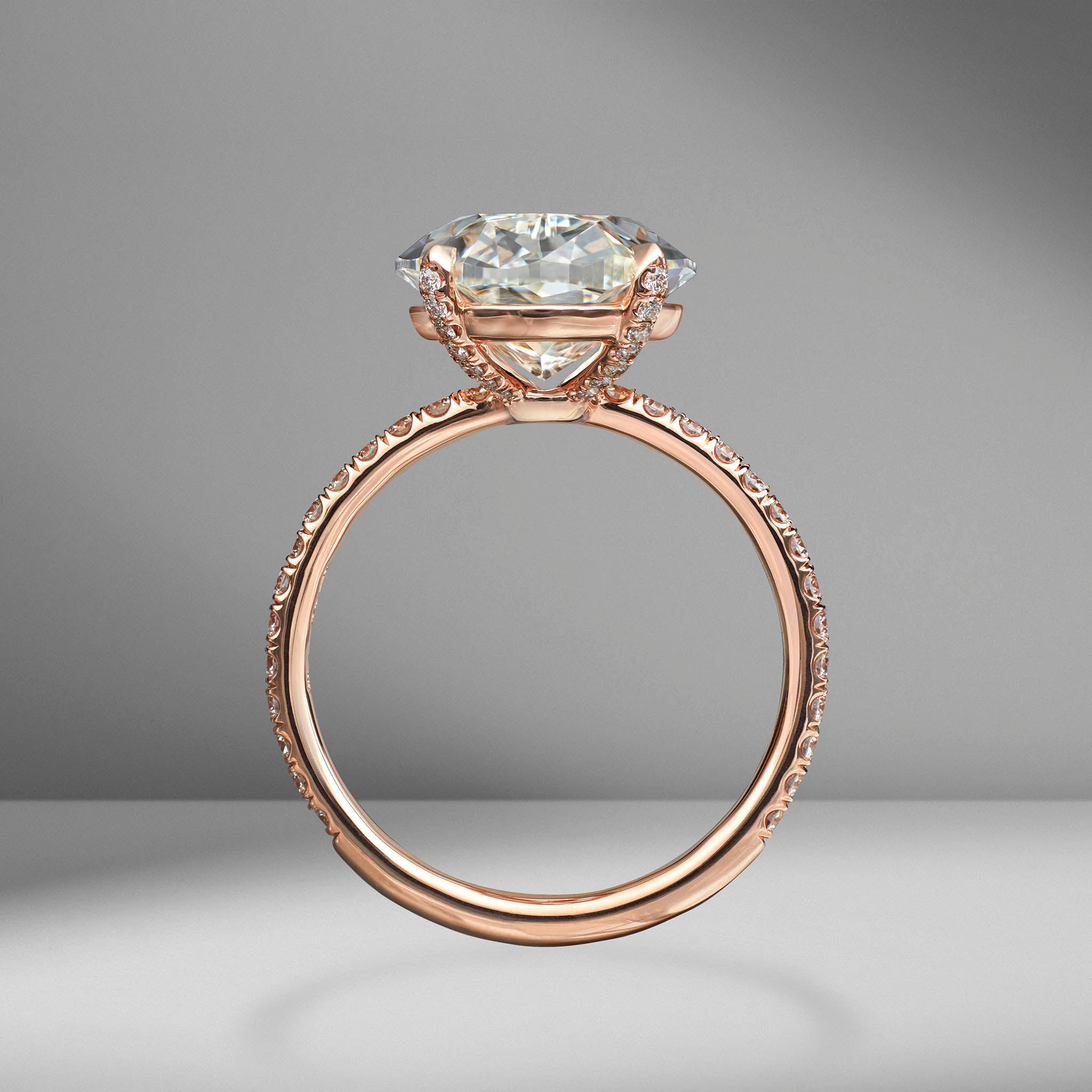 Oval Cut Engagement Ring with Diamond Pav