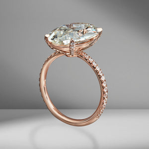 Oval Cut Engagement Ring with Diamond Pavé
