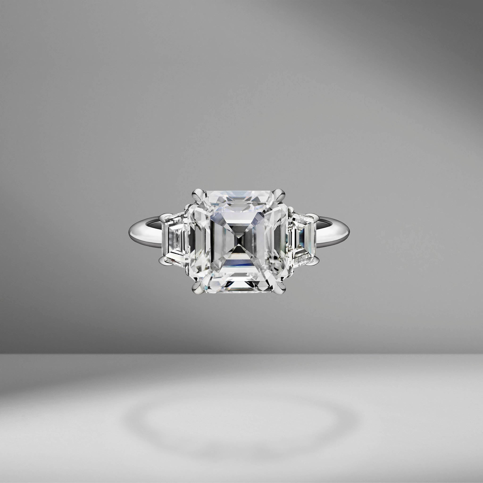 Asscher Cut Engagement Ring with Trapezoids