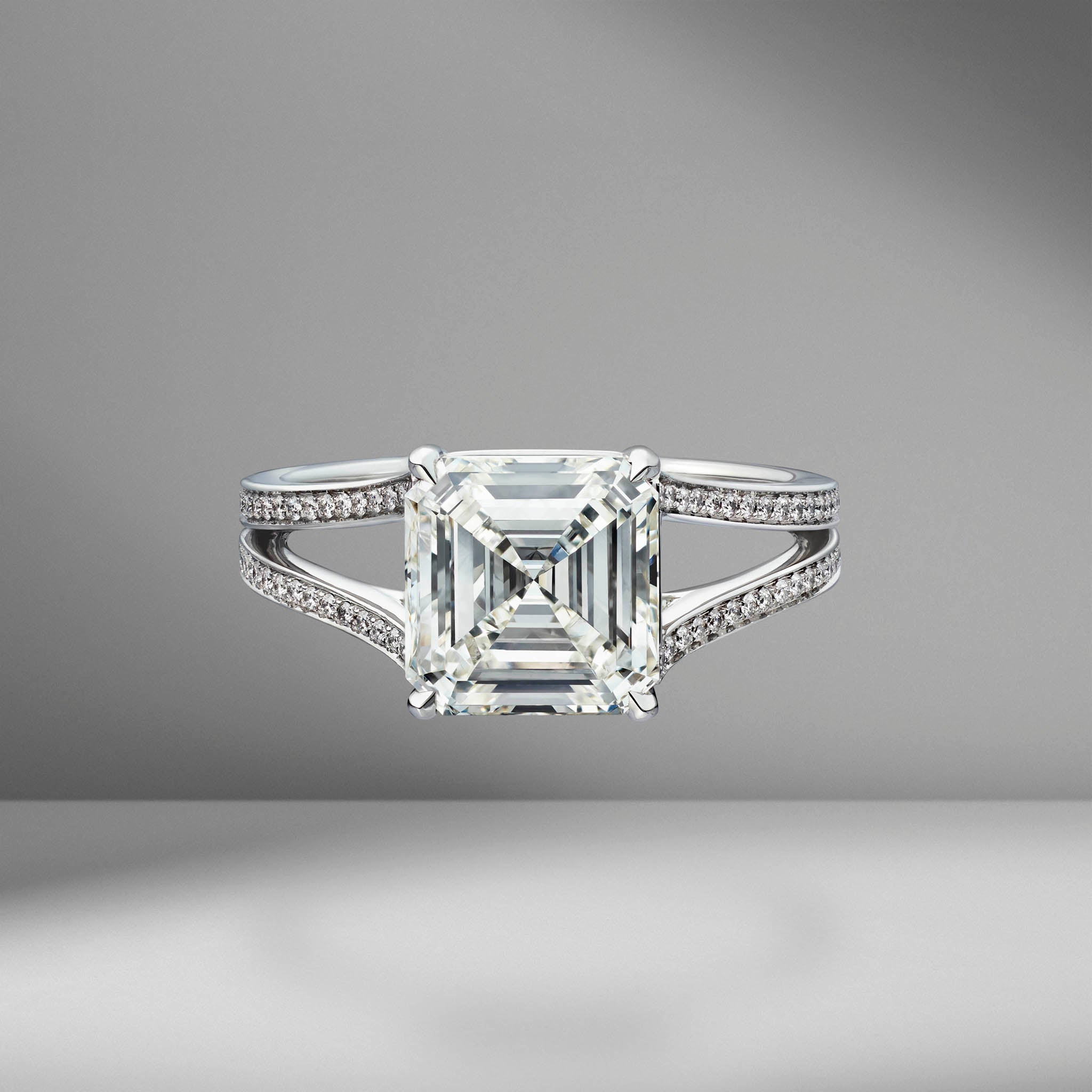 Asscher Cut Engagement Ring with Split Shank Bright Cut Pavé