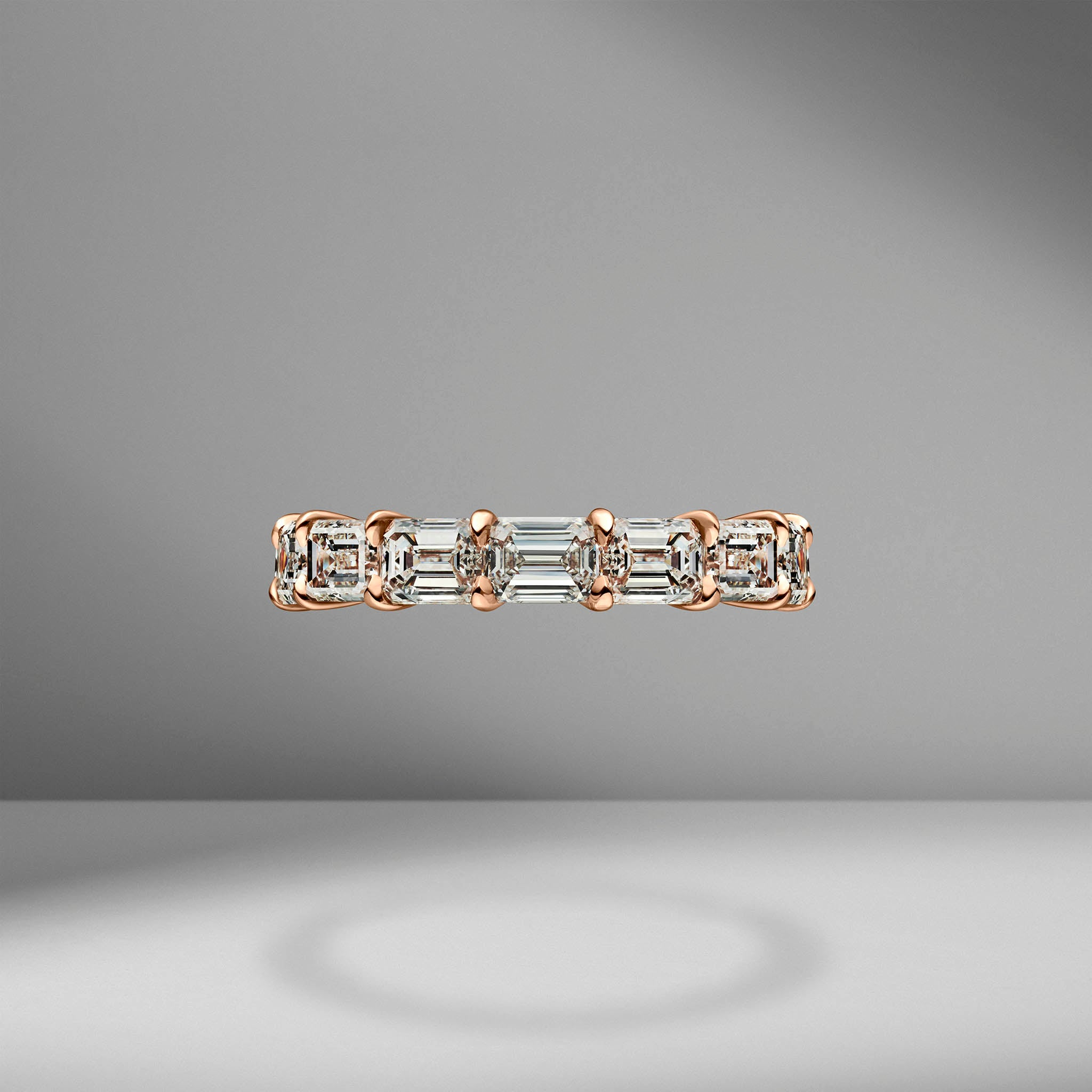 East-West Set Emerald Cut Eternity Band .30