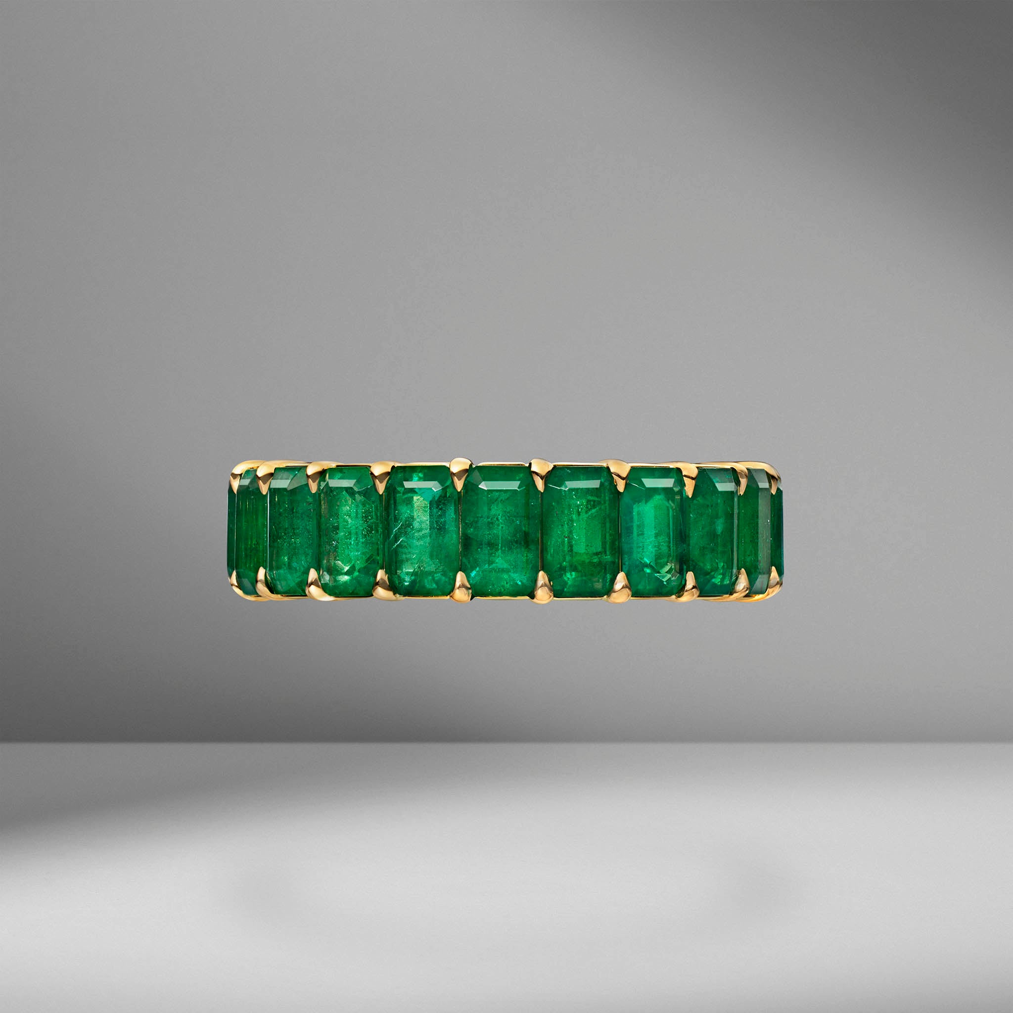 Custom Emerald Cut Emerald Eternity Band