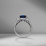 Cushion Cut Sapphire Ring with Trapezoids