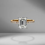 Emerald Cut Engagement Ring with Diamond Pavé