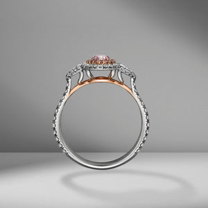 Pink Oval Cut Diamond Ring with Pear Shapes