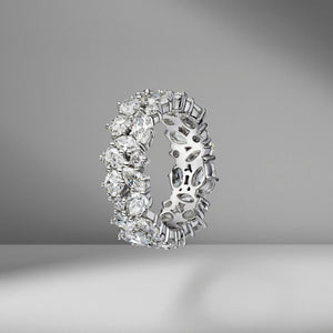 Two Row Multi-Shape Cluster Eternity Band