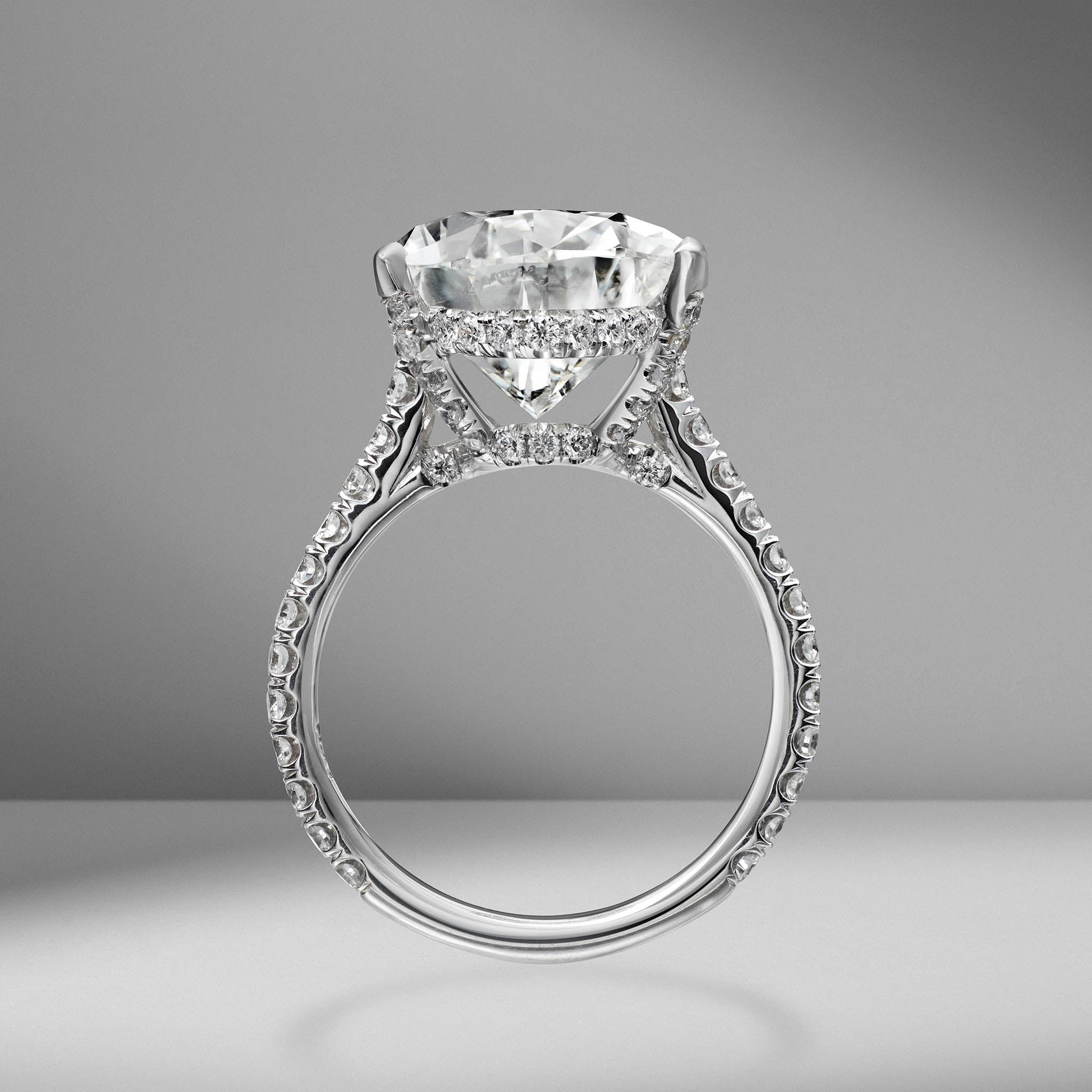 Pear Shape Engagement Ring with Diamond Pav